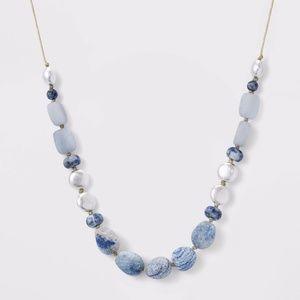 Semi-Precious Angelite and Aventurine  Necklace